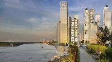 Ny levande stadsdel med skyskrapor i trä